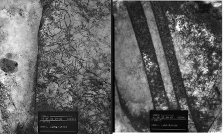 TEM images displaying dislocation pile-ups at grain boundaries and twinned regions, respectively (in collaboration with H.J. Maier).